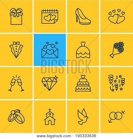 Vector Illustration Of 16 Wedding Icons. Editable Pack Of Card, Love, Present And Other Elements.