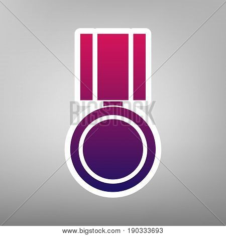 Medal sign illustration. Vector. Purple gradient icon on white paper at gray background.