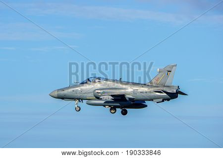 Labuan,Malaysia-June 9,2017:The Royal Malaysian Air Force BAE Hawk 208 fighter jet is landing in Labuan airport,Malaysia.On 2013,the Hawk 208 was used in air strikes against the Filipino insurgents.