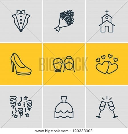 Vector Illustration Of 9 Wedding Icons. Editable Pack Of Bridal Bouquet, Love, Bridegroom Dress And Other Elements.