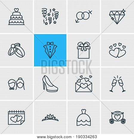 Vector Illustration Of 16 Wedding Icons. Editable Pack Of Bridegroom Dress, Calendar, Sandal Elements.