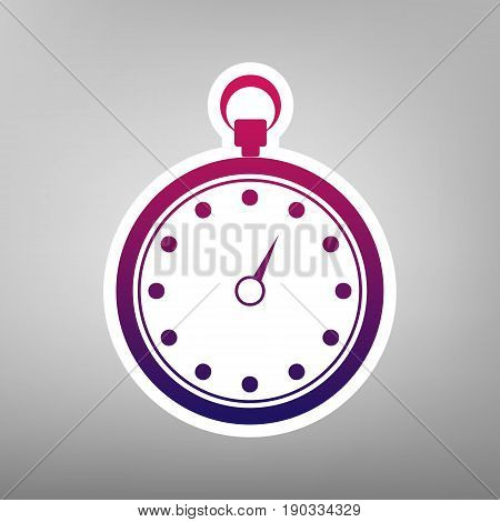 Stopwatch sign illustration. Vector. Purple gradient icon on white paper at gray background.