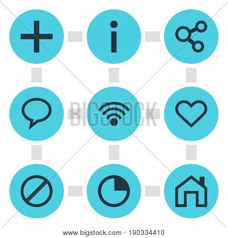 Vector Illustration Of 9 Member Icons. Editable Pack Of Heart, Info, Cordless Connection And Other Elements.