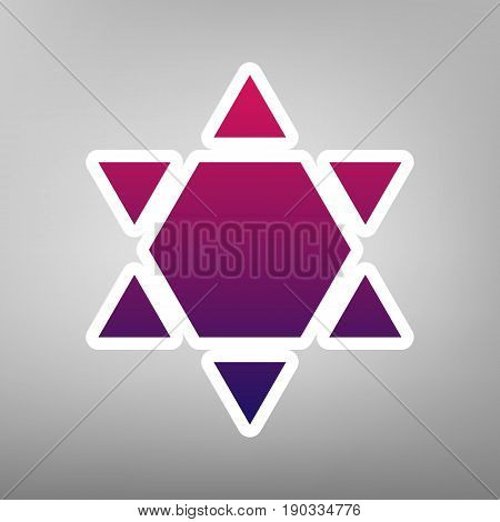 Shield Magen David Star Inverse. Symbol of Israel inverted. Vector. Purple gradient icon on white paper at gray background.