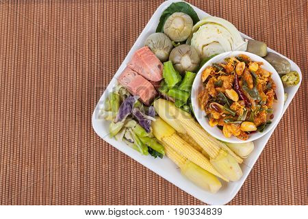 Shrimp Paste Chili Sauce With Blanching Vegetables, Food