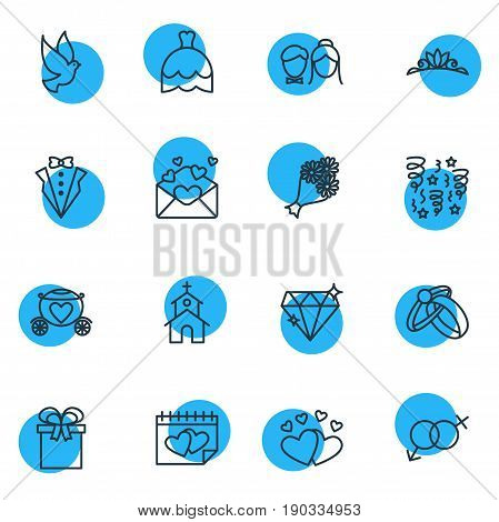 Vector Illustration Of 16 Engagement Icons. Editable Pack Of Bridegroom Dress, Pigeon, Wedding Gown And Other Elements.