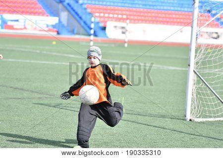 Orenburg, Russia-april 26, 2017 Year: The Boys Play Football