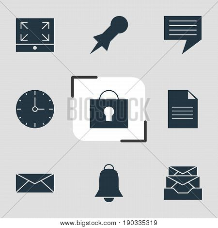 Vector Illustration Of 9 Internet Icons. Editable Pack Of Clock, Document, Thumbtack And Other Elements.