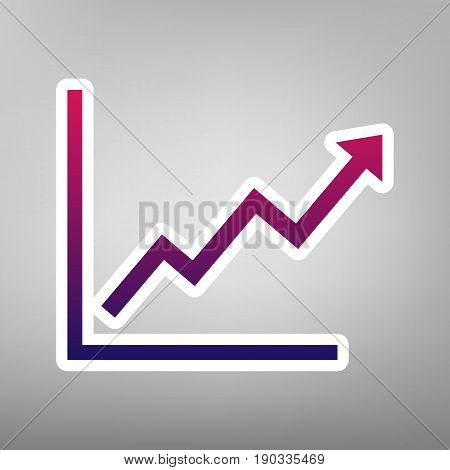 Growing bars graphic sign. Vector. Purple gradient icon on white paper at gray background.