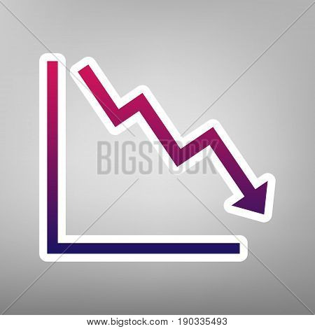 Arrow pointing downwards showing crisis. Vector. Purple gradient icon on white paper at gray background.