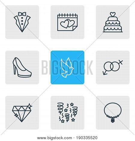 Vector Illustration Of 9 Engagement Icons. Editable Pack Of Pigeon, Calendar, Bridegroom Dress And Other Elements.