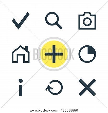 Vector Illustration Of 9 Interface Icons. Editable Pack Of Wrong, Mainpage, Snapshot And Other Elements.