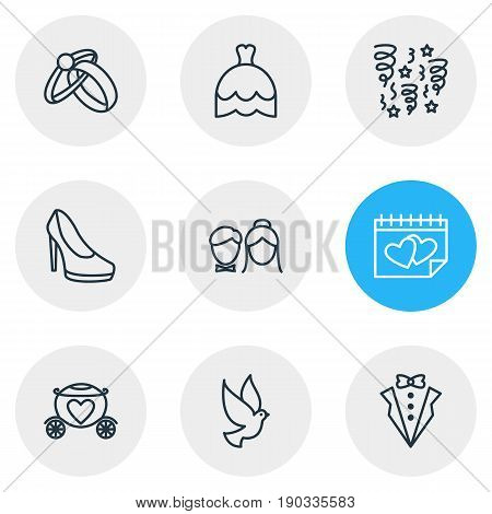 Vector Illustration Of 9 Marriage Icons. Editable Pack Of Pigeon, Decoration, Wedding Gown And Other Elements.