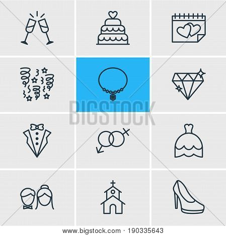 Vector Illustration Of 12 Wedding Icons. Editable Pack Of Brilliant, Wedding Gown, Patisserie And Other Elements.