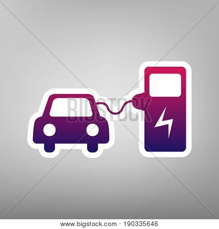 Electric car battery charging sign. Vector. Purple gradient icon on white paper at gray background.