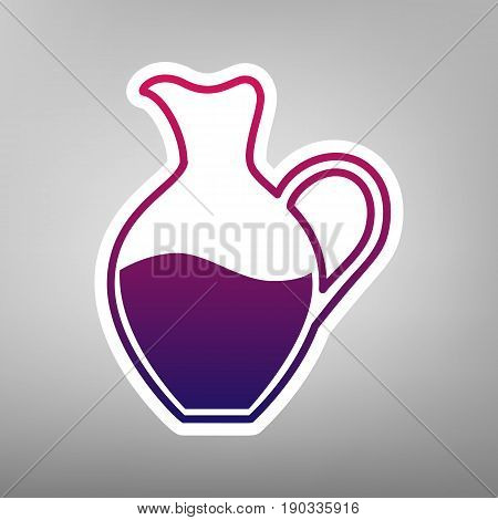 Amphora sign. Vector. Purple gradient icon on white paper at gray background.