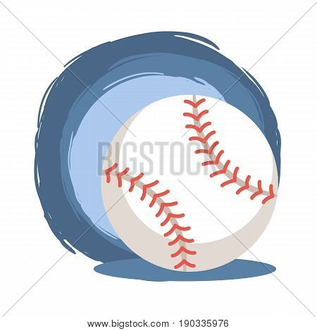 Baseball Softball Ball. Vector illustration of baseball softball ball icon isolated on blue white background.