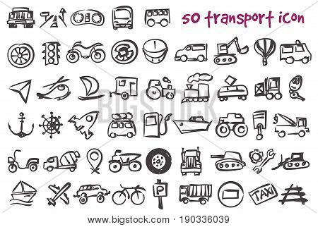Vector doodle transport icons set. Stock cartoon signs for design.