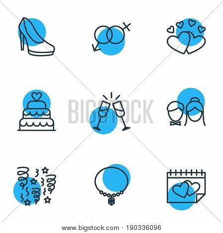 Vector Illustration Of 9 Marriage Icons. Editable Pack Of Patisserie, Sexuality Symbol, Wineglass And Other Elements.