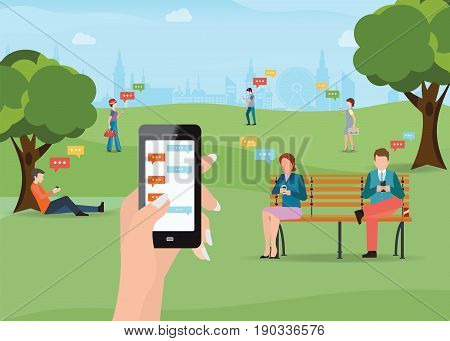 Group of people sitting in the park and texting messages in chat using smartphone sending message and texting to friends via messenger app Flat modern vector illustration of chat via mobile phone.