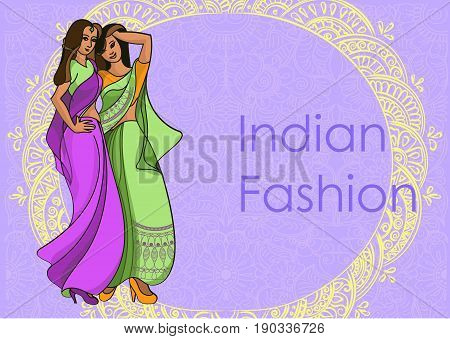 Indian fashion set. Vector stock illustration for design on white background