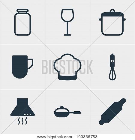 Vector Illustration Of 9 Cooking Icons. Editable Pack Of Extractor Appliance, Handmixer, Chef Hat Elements.