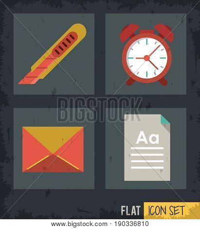 black background squares set with cutter and clock and mail and sheet vector illustration