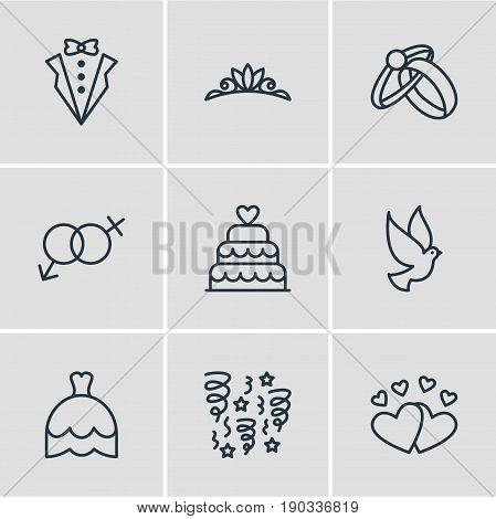 Vector Illustration Of 9 Engagement Icons. Editable Pack Of Patisserie, Sexuality Symbol, Wedding Gown And Other Elements.