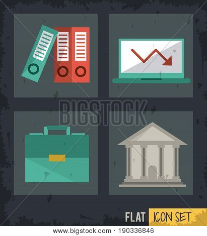 black background squares set with files and briefcase and computer and parthenon vector illustration
