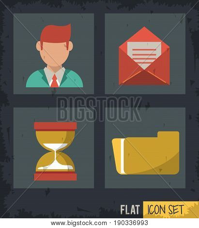 black background squares set with man and mail and sand clock and folder vector illustration