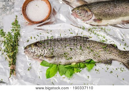 Preparing Trout With Thyme And Salt For Grill