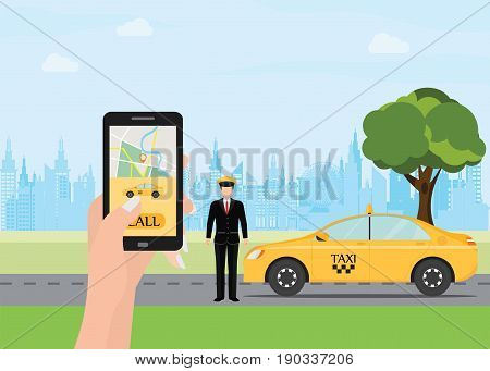 Hands with smart phone and taxi application Taxi service Yellow taxi cab on city silhouette with skyscrapers and tower background Vector illustration.