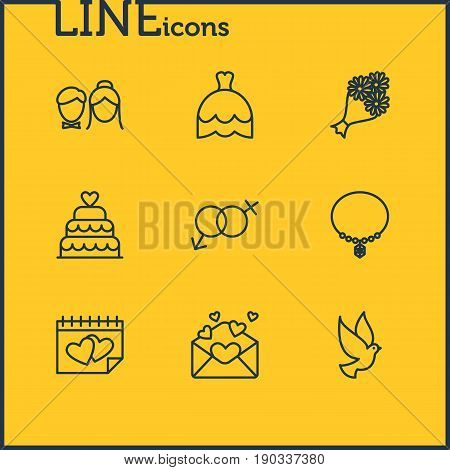 Vector Illustration Of 9 Wedding Icons. Editable Pack Of Couple, Bridal Bouquet, Card And Other Elements.