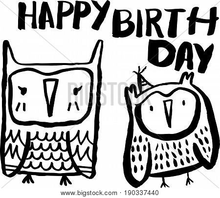 Doodle owls seamless pattern. Black and white cute owls background. Great for coloring book, wrapping, printing, fabric and textile. Vector illustration