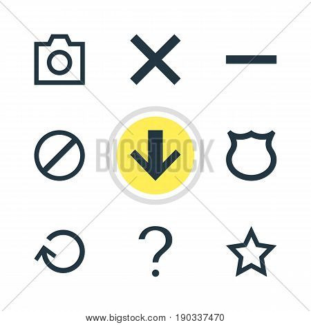 Vector Illustration Of 9 Member Icons. Editable Pack Of Asterisk, Downward, Wrong And Other Elements.