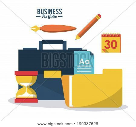 colorful poster business portfolio with briefcase sand clock pen pencil calendar and folder vector illustration
