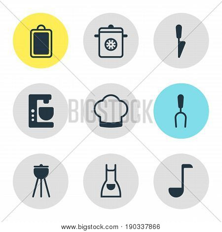 Vector Illustration Of 9 Kitchenware Icons. Editable Pack Of Barbecue Tool, Chef Hat, Soup Spoon And Other Elements.