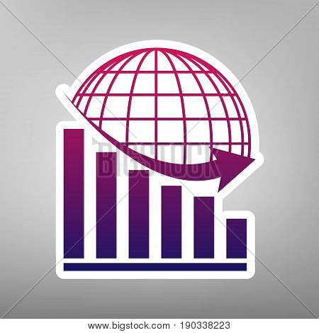 Declining graph with earth. Vector. Purple gradient icon on white paper at gray background.