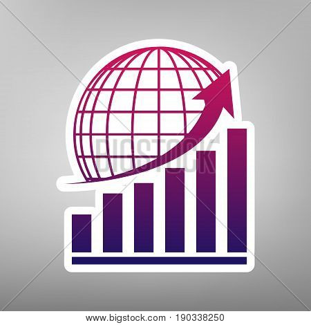 Growing graph with earth. Vector. Purple gradient icon on white paper at gray background.