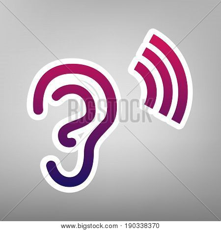 Human anatomy. Ear sign with soundwave. Vector. Purple gradient icon on white paper at gray background.