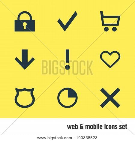 Vector Illustration Of 9 Member Icons. Editable Pack Of Wheelbarrow, Padlock, Shield And Other Elements.