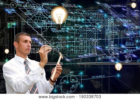 Light power industrial technology.Engineering designing.Engineer.Industry light design