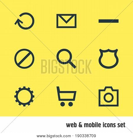 Vector Illustration Of 9 Interface Icons. Editable Pack Of Wheelbarrow, Cogwheel, Letter And Other Elements.
