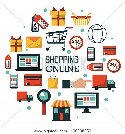 colorful poster shopping online with common online shopping icons vector illustration
