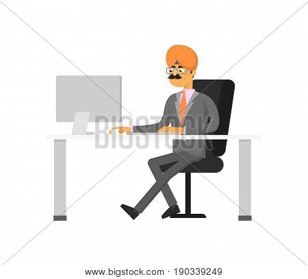 Indian businessman working on computer. Man in business suit and turban sitting at office table, business people vector illustration.