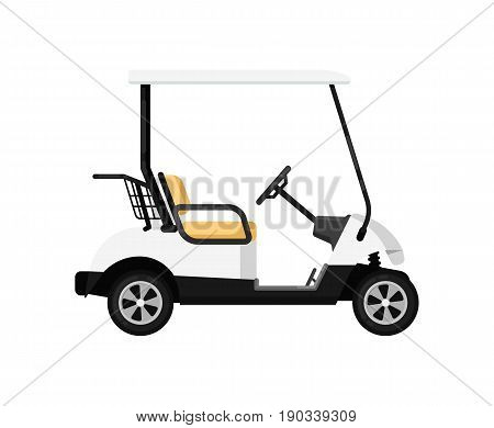 Golf car isolated icon in flat design. Modern auto vehicle, outdoor people transportation and travel activity vector illustration.
