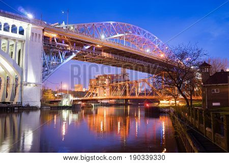 Detroit-Superior Bridge Cuyahoga River in Cleveland Ohio