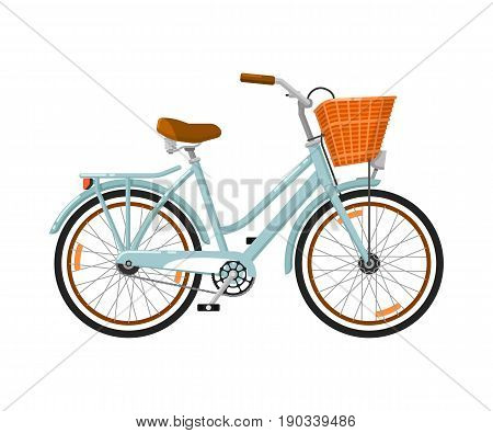 Classic woman bicycle isolated icon. Ecology trasport, outdoor people transportation and travel activity vector illustration in flat design.