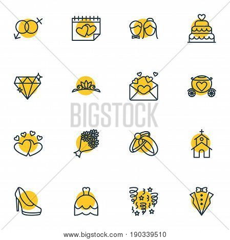 Vector Illustration Of 16 Wedding Icons. Editable Pack Of Wedding Gown, Bridegroom Dress, Building And Other Elements.