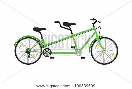 Tandem city bicycle isolated icon. Ecology trasport, outdoor people transportation and travel activity vector illustration in flat design.